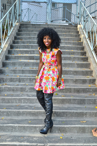 black Over the knee boots - hot pink Zara dress