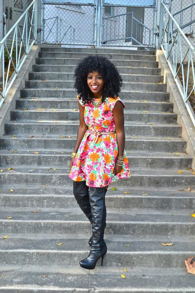 black Over the knee boots - hot pink Zara dress