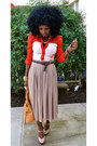 Red-puff-sleeve-shirt-camel-pleated-skirt