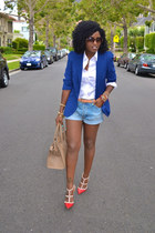 blue Zara blazer - red Valentino shoes - white Ralph Lauren shirt