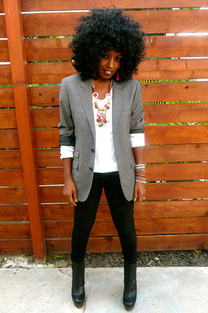 heather gray H&M blazer - black Urban Outfitters jeans - white Jcrew sweater