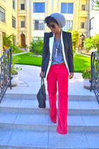 red DKNY pants - heather gray Topman hat - black romwe blazer