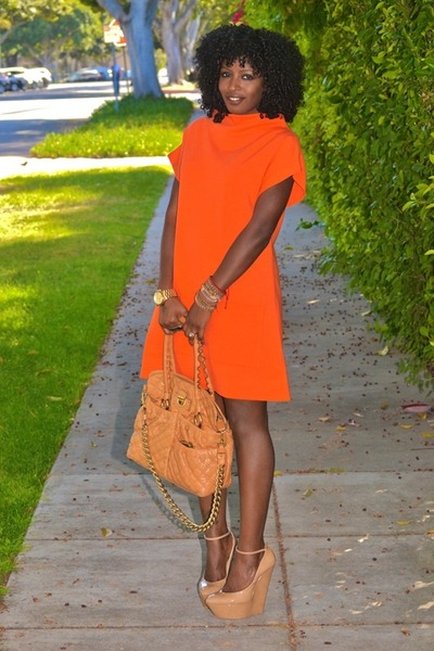 carrot orange Isabella Oliver dress - nude Giuseppe Zanotti wedges
