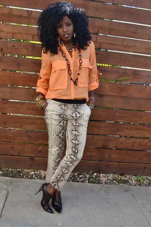 beige snakeskin pants - carrot orange Safari shirt