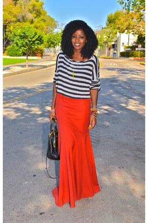 carrot orange Mermaid skirt - heather gray Crop blouse