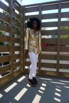 gold Michael Kors blouse - white H&M jeans