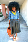Blue-denim-shirt-tawny-rachel-zoe-bag-black-h-m-skirt