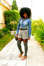Blue-mossimo-shirt-charcoal-gray-tweed-shorts