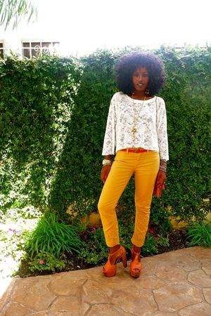 yellow American Apparel jeans - beige Forever 21 DIY boots
