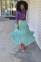 aquamarine romwe skirt - red vintage blouse