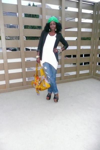 black H&M blazer - beige H&M blouse - blue H&M jeans - black Jessica Simpson sho
