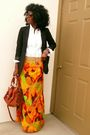 Black-h-m-blazer-orange-gap-shirt-skirt