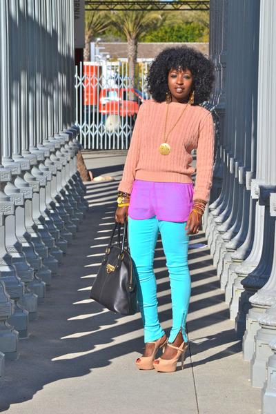 American Apparel sweater - joes leggings - chiffon blouse