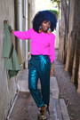 Hot-pink-zara-blouse-teal-american-apparel-pants