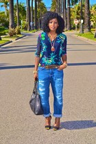 blue boyfriend jeans - navy Zara blouse
