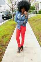 blue paul & joe shirt - red American Apparel jeans