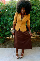 brown H&M blazer - dark brown American Apparel dress - nude shoes