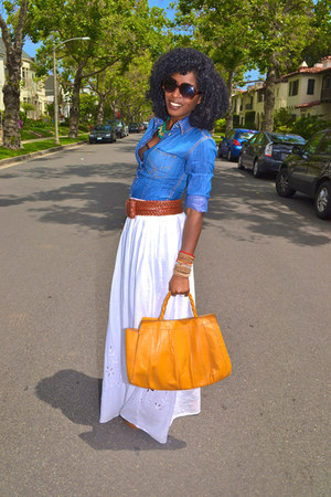 white maxi Eyelet skirt - blue denim paul & joe shirt