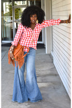 blue free people jeans - red Gingham shirt - tawny Fringe bag