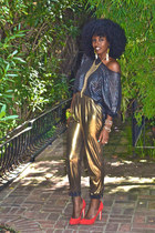 gold American Apparel pants - silver H&M blouse - red Dolce Vita pumps