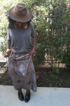 gray H&M blouse - brown WeWe Clothing skirt