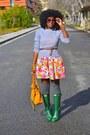 Green-hunter-rain-boots-carrot-orange-zara-dress-heather-gray-jcrew-sweater