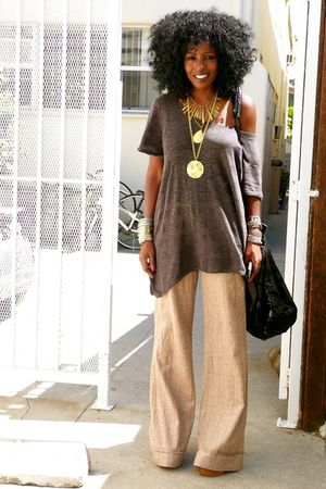 brown H&M blouse - brown gsus pants - brown Jeffrey Campbell clogs