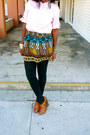 Navy-banana-republic-blazer-bubble-gum-zara-shirt-brown-tribal-skirt