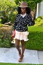 Eggshell-h-m-dress-brown-vintage-hat-black-polka-dot-blouse