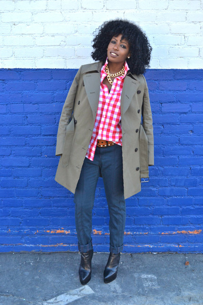 olive green EDUN jacket - navy EDUN jeans - red H&M shirt - white shirt