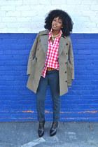 olive green EDUN jacket - navy EDUN jeans - red H&M shirt - white shirt