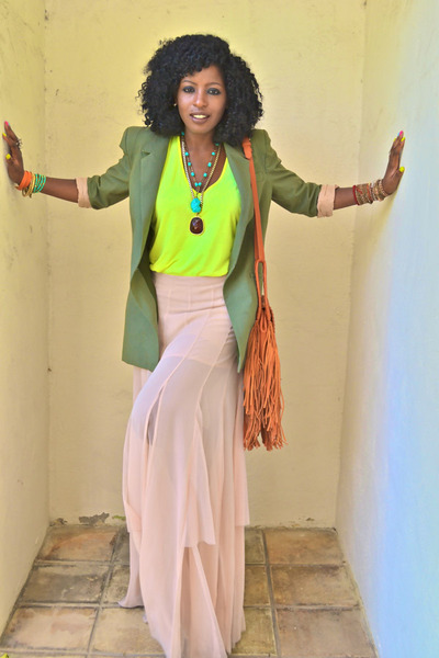 peach asos skirt - olive green Elizabeth and James blazer - chartreuse Zara top