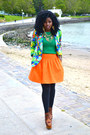 Green-knit-sweater-aquamarine-floral-blazer-carrot-orange-flounce-skirt