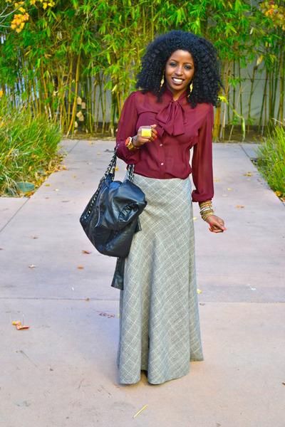 maroon American Apparel blouse - black Miu Miu Cowboy boots - black Chanel bag