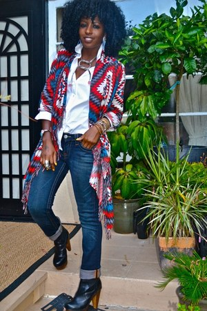 red AZTEC PRINT jacket - blue True Religion jeans - white Jcrew shirt