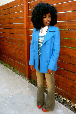blue JCrew jacket - olive green DKNY pants