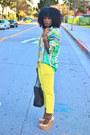 Yellow-zara-pants-chartreuse-scarf-print-zara-shirt