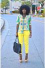 Chartreuse-scarf-print-zara-shirt-yellow-zara-pants