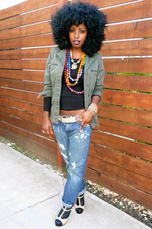 navy H&M jeans - olive green vintage jacket