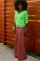 green JCrew top - red Urban Outfitters pants