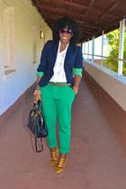 navy Jcrew blazer - gold Jcrew shoes - white Jcrew shirt - chartreuse Zara pants