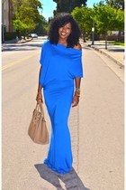 blue Mermaid Jersey dress - camel Celine bag