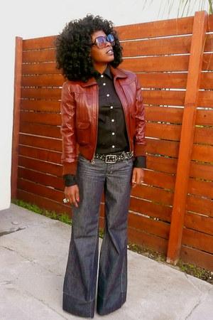 black Jcrew shirt - navy Level 99 jeans