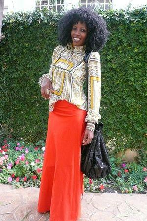 yellow vintage blouse - orange Moshood skirt