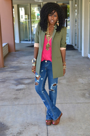 olive green Elizabeth &amp; James blazer - blue diy ripped Levis jeans