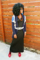 navy H&M cardigan - black maxi dress - ruby red booties clogs