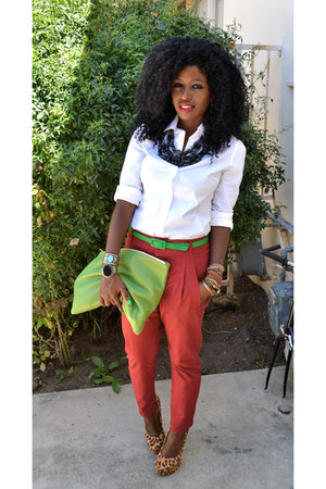 white Jcrew shirt - chartreuse American Apparel bag - ruby red Zara pants
