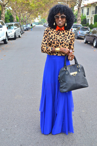 blue asos skirt - red romwe shirt - light brown leopard print romwe shirt