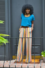 Teal-american-apparel-blouse-light-orange-missoni-for-target-pants