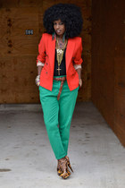 ruby red Zara blazer - aquamarine Zara pants